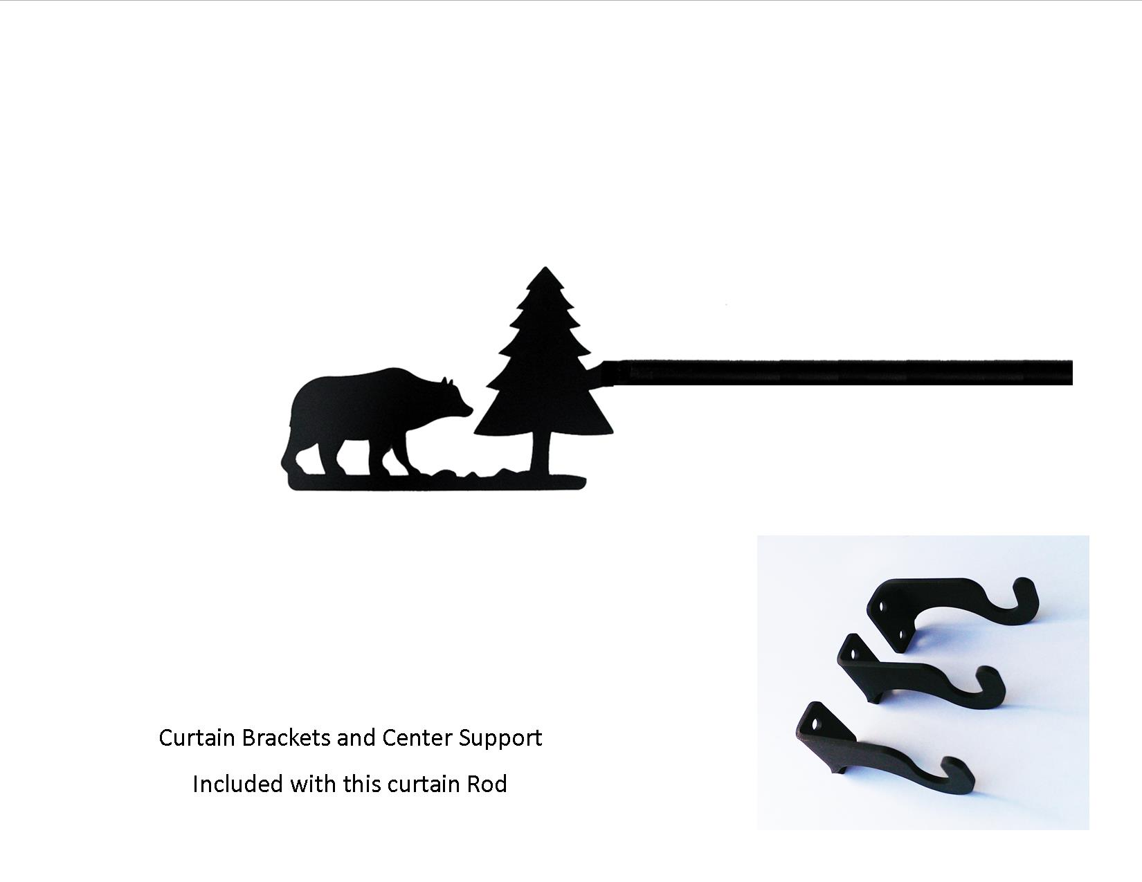 Bear/Pine Curtain Rod - XL  (Hardware is INCLUDED)