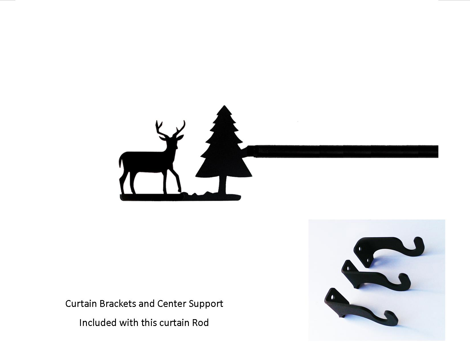 Deer/Pine Curtain Rod - Med  (Hardware is INCLUDED)