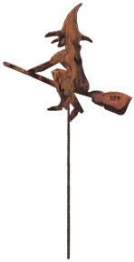Witch & Broom - Rusted Garden Stake