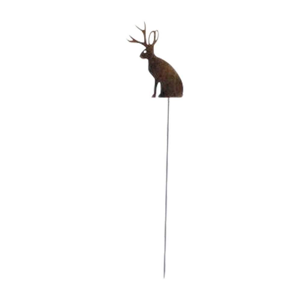 Jackalope - Rusted Garden Stake