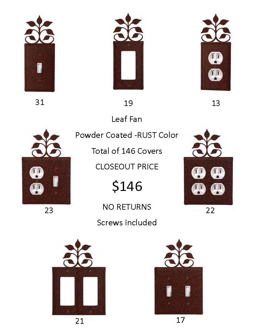 LEAF FAN CLOSEOUT - Rust Color ONLY.  A total of 146 Electrical Covers!  That's only 1 EACH...-... OVER $740  DOLLARS Worth of SAVINGS and that's Wholesale!
