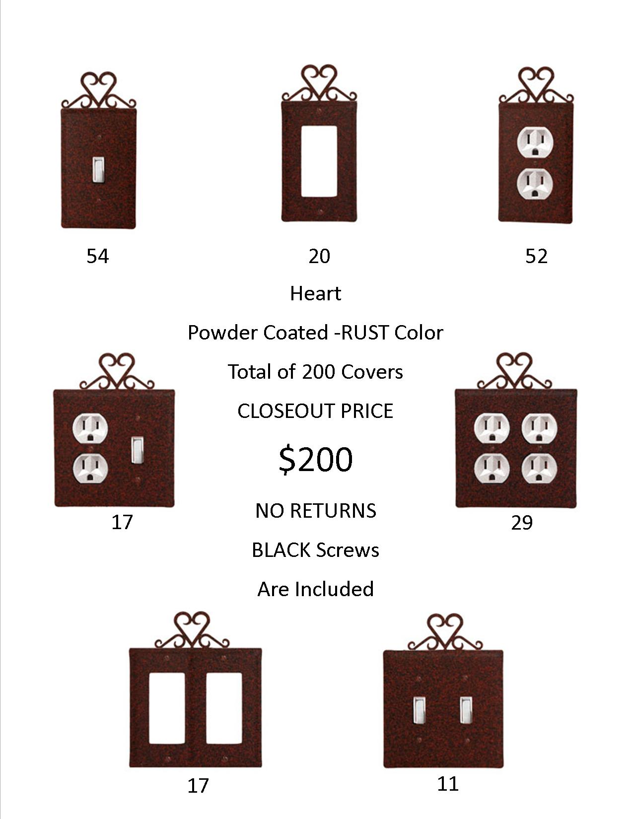 HEART CLOSEOUT - Rust Color ONLY. A total of 200 Electrical Covers for only 1 EACH! ...-...OVER $974  DOLLARS Worth of SAVINGS and that's Wholesale!