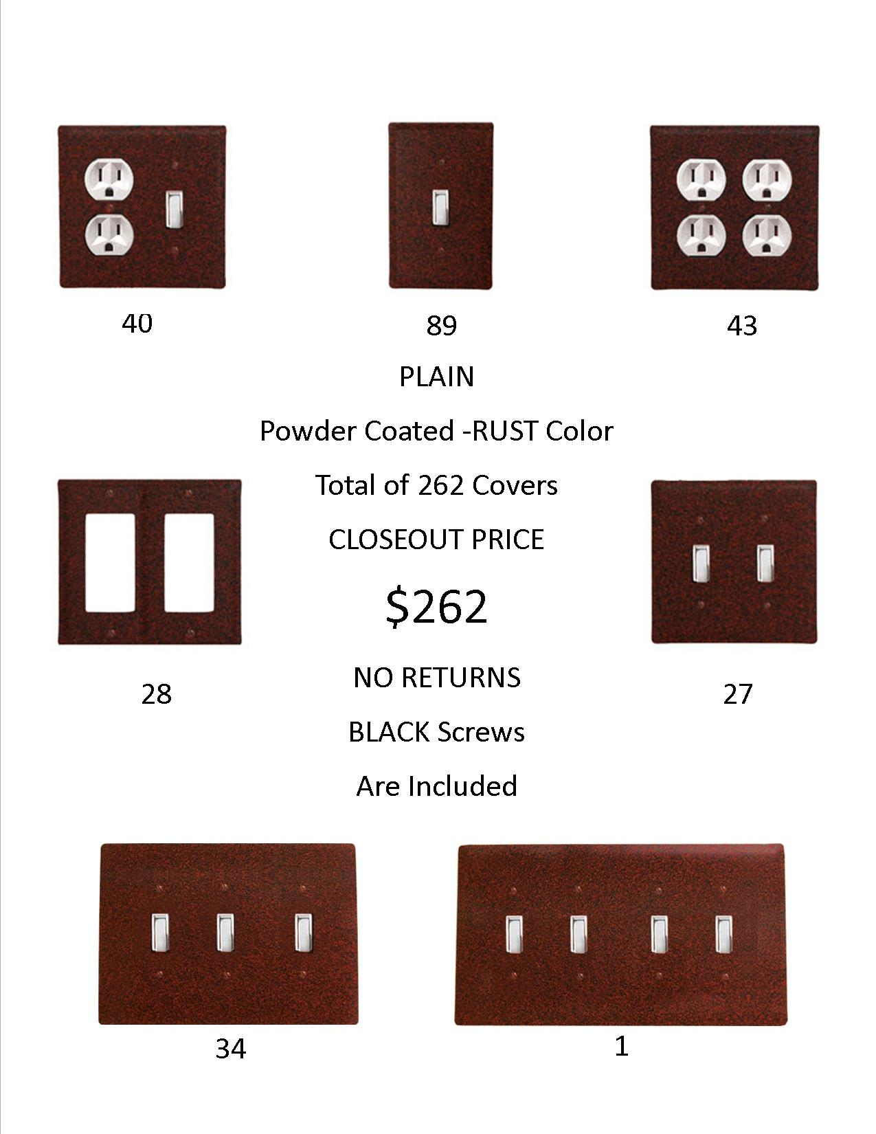 PLAIN  CLOSEOUT - Rust Color ONLY.  A total of 262 Electrical Covers for only 1 EACH!  ...-...OVER $1,438  DOLLARS Worth of SAVINGS and that's Wholesale!