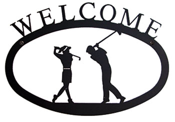 Two Golfers - Welcome Sign Large