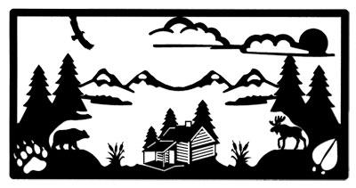 Wall Art Log Cabin