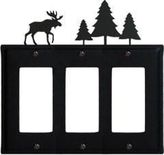 Moose & Pine Trees - Triple GFI Cover