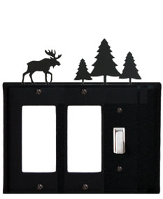 Moose & Pine Trees - Double GFI and Single Switch Cover