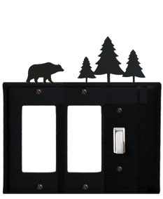 Bear & Pine Trees - Double GFI and Single Switch Cover