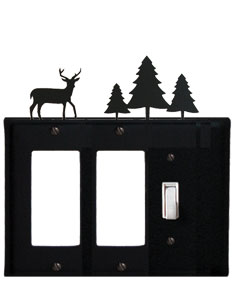 Deer & Pine Trees - Double GFI and Single Switch Cover